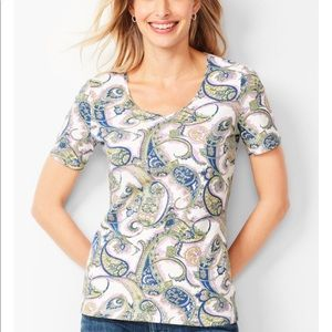The Talbots Tee V-Neck Paisley Cotton Top Size XS